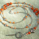Caramel Brown Fossil Gemstone beads Silver Hearts Lanyard  with Silver Heart Focal bead