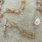 Coffee Quartz Glass Rosary Italian Crucifix 8mm beads
