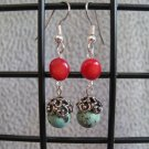 Red Coral Nugget Genuine Turquoise Gemstone Dangle Ear Rings