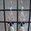 Vintage Style Aqua Terra Jasper Black Agate Aqua Black Crystal Dangle Ear Rings