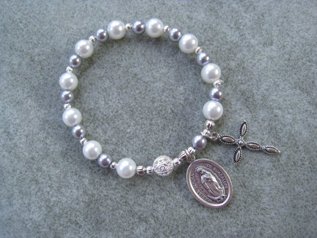 Czech White & Silver Pearl Glass Roasry Bracelet with Our Lady of Guadalupe Medal