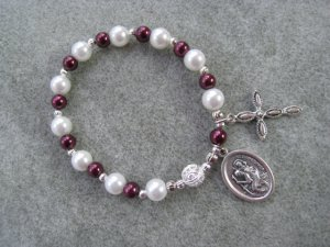 Czech White & Burgundy Pearl Glass Roasry Bracelet with St. Christopher Medal