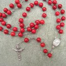 Red Fossil gemstone Rosary Trinity Crucifix Center Piece with Soil from Holy Land 8mm beads