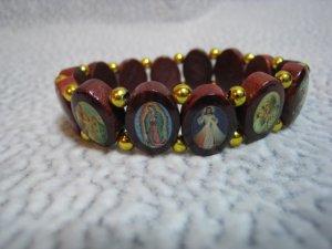 Brazilian Wood Panel Stretch Bracelet with Saints