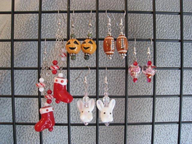 Christmas Easter Spring Football Fall Halloween Valentines Seasonal Ear Ring Set #1