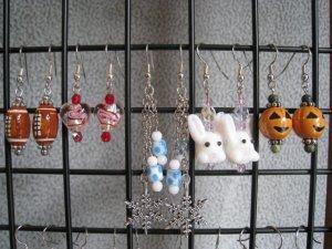 Christmas Easter Spring Football Fall Halloween Valentines Seasonal Ear Ring Set #2