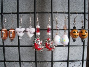 Christmas Easter Spring Football Fall Halloween Valentines Seasonal Ear Ring Set #3