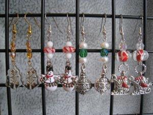 Christmas Tree Snowman Silver Ornament Santa in Sleigh Ear Rings set #4
