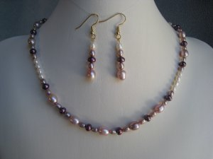 White Purple Lavender Freshwater Pearl Necklace Ear Ring Set