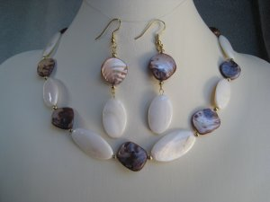 White Brown Mother of Pearl beaded Necklace Ear Ring set