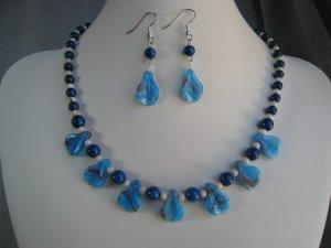 Dark Blue Natural Fossil Gemstone Beads Blue Swirl Lampwork Glass Beads Necklace Ear Ring set