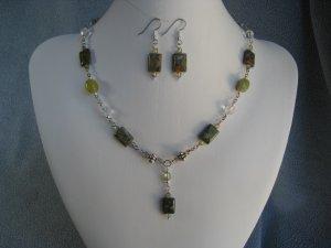 Rhyolite Gemstone Jade Crystal bead Necklace Ear Ring set