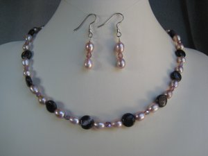 Russian Charoite Gemstone beads Lavender Freshwater Pearl Crystals Necklace Ear Ring Set