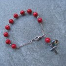 One Decade Red Fossil Gemstone Silver Cross Madonna and Child Saint Icon Rosary Bracelet