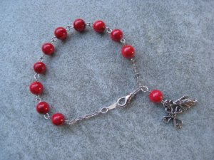 One Decade Red Fossil Gemstone Silver Open Cross Madonna Saint Charm Rosary Bracelet