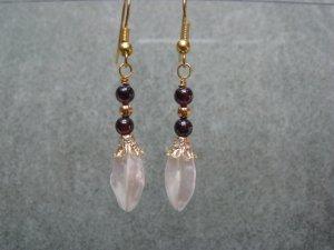 Garnet and White Freshwater Garlic Shaped Pearl Dangle Ear Rings