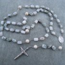 Peace Jade Gemstone Rosary Saint Patrick Center Silver Crucifix 8x12mm Nuggets