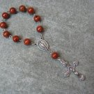 One Decade Rosary Caramel Brown Fossil Gemstone Miraculous Center Silver Crucifix 8mm beads