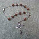 Automobile Rosary Red Sesame Jasper Gemstone Silver Crucifix 8mm beads