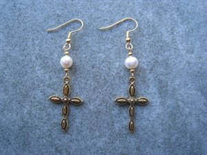 White Freshwater Pearl Cross Antique Finished Gold-plated Cross Dangle Ear Rings