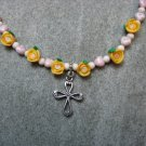 Pink Watercolor Glass Hearts Yellow Fimo Clay Roses Natural Fossil Beads Silver Cross Girls Necklace