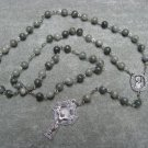 Saint Patrick Center Piece Green Line Jasper Gemstone Rosary 8mm beads