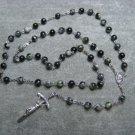 Jungle Jasper Gemstone Rosary Papal Crucifix Center Piece Set 8mm Beads