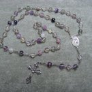 Rainbow Fluorite Rosary Holy Family Holy Spirit Center Piece 8mm beads