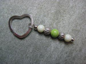 Green Lampwork Beaded Silver Toned Heart Key Chain Ring