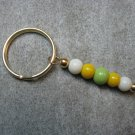 Green Yellow Lampwork Beaded Gold Toned Round Key Chain Ring