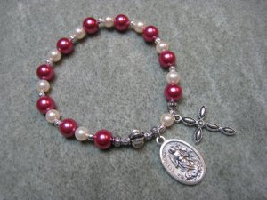 Czech Fuchsia and Ivory Pearl Glass Rosary Bracelet with Saint Martha Medal