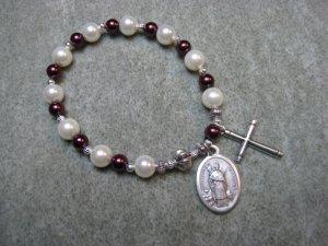 Czech White and Burgundy Pearl Glass Rosary Bracelet with Saint Raymond Medal