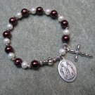 Czech Burgundy and White Pearl Glass Rosary Bracelet St Cosmas St Damian Medal