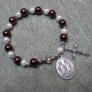 Czech Burgundy and White Pearl Glass Rosary Bracelet St Cosmas St Damian Medal