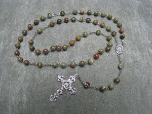 Rhyolite Gemstone Rosary Pewter Crucifix Scapular Center Piece 8mm beads