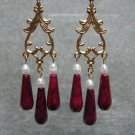 Red Fossil Gemstone White Freshwater Pearls Dangle Ear Rings