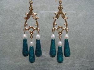 Green Fossil Gemstone White Freshwater Pearls Dangle Ear Rings