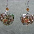 Murano Foil Glass Hearts Topaz Swarovski Crystal Dangle Ear Rings