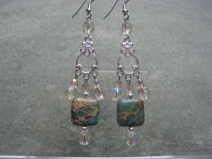Aqua Terra Jasper Gemstone Khaki Crystals Dangle Ear Rings