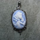Madonna and Child White on Powder Blue Cameo Pendant Antiqued Silver Setting