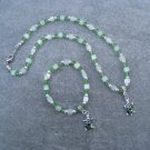 Green Turtles Green Crystals and Cats Eye Glass Cubes Necklace Bracelet set with Silver Accents