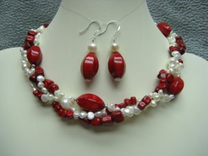 Red Fossil Gemstone White Freshwater Pearl Twist Necklace Ear Ring Set