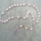 Pink Cats Eye Glass Rose Pink Citrine Yellow Interlock Heart Anglican Rosary 8mm Beads