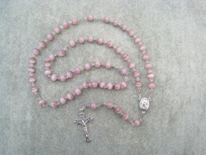 Lavender Cats Eye Glass Rosary Silver Crucifix Soil Filled Center 8mm Beads