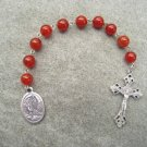 Red Agate Gemstone Our Lady of Lourdes One Decade Chaplet Rosary Silver Crucifix 8mm Beads