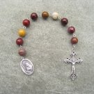 Moukaite Jasper Gemstone Saint Rita One Decade Chaplet Rosary Silver Crucifix 10mm Beads
