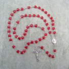 Ruby Red Heart Glass Rosary Silver Crucifix Miraculous Center 8mm beads