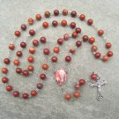 Red Flake Jasper Gemstone Our Lady of Lourdes Silver Crucifix Rosary 8mm Beads