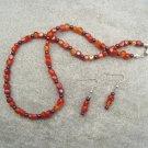 Garnet Carnelain Gemstone Beaded Necklace Ear Ring Set
