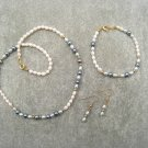 White & Blue Freshwater Pearl Necklace Bracelet Ear Ring